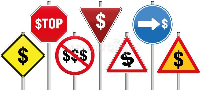 Affär för symbol för dollar för trafiktecken royaltyfri illustrationer