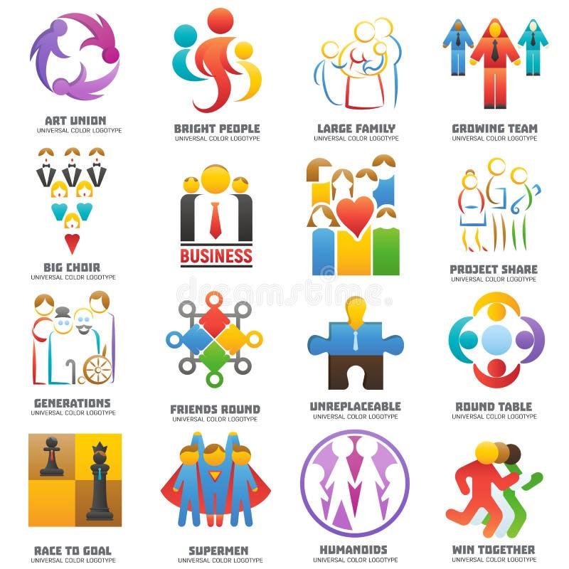 Affär för union för teamwork för uppsättning för grupp för abstrakt begrepp för vektor för folklaglogo vektor illustrationer
