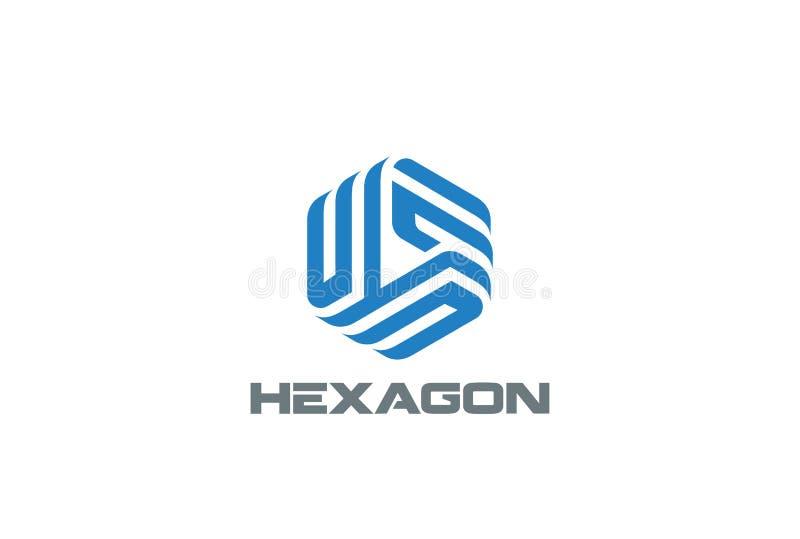 Affär för vektor för design för sexhörningslogoabstrakt begrepp royaltyfri illustrationer