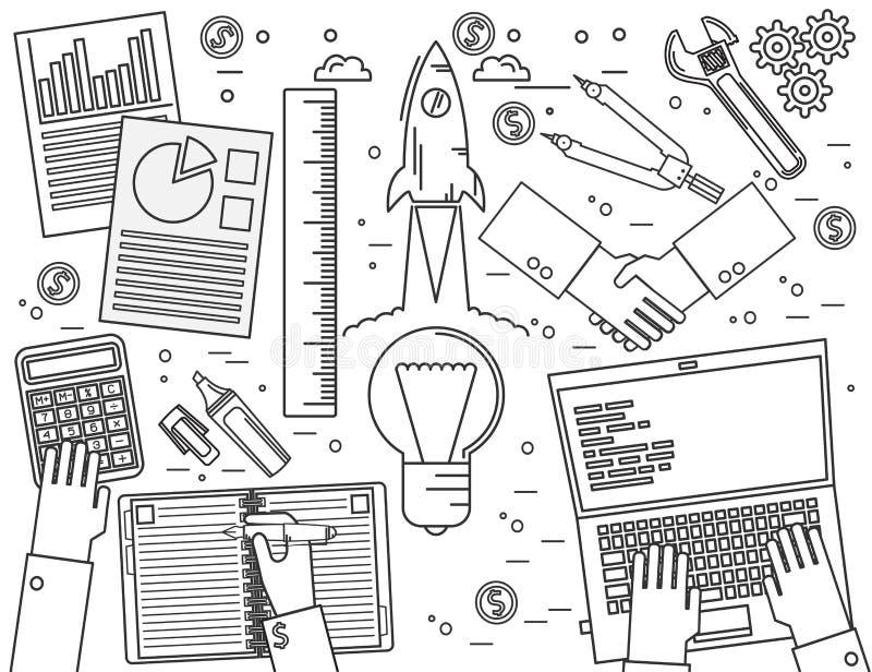 Affär finans, ledning, lagarbete, analys, strategi och royaltyfri illustrationer