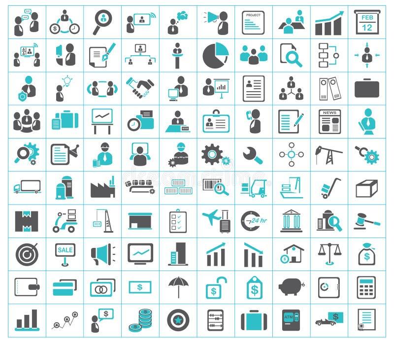 Affär, finans, sändnings och kontorssymboler royaltyfri illustrationer