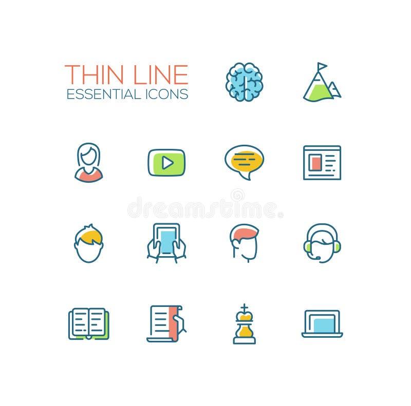 Affär finanssymboler - den tjocka linjen designsymboler ställde in stock illustrationer
