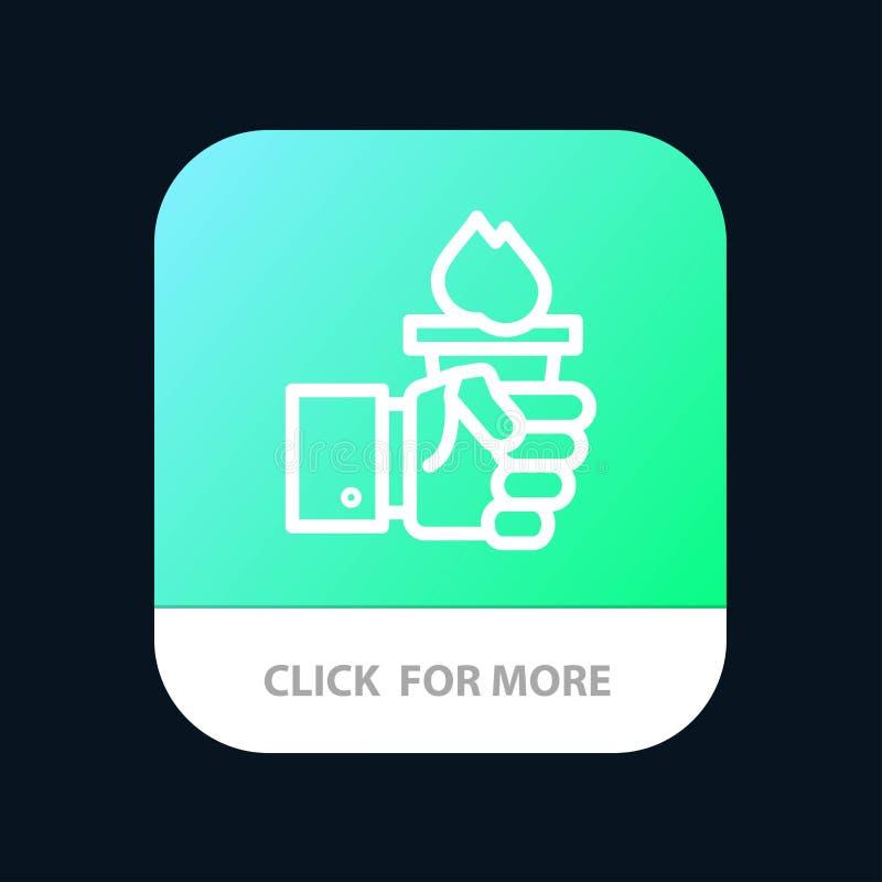 Affär hand, ledare, ledarskap, olympisk mobil Appknapp Android och IOS-linje version stock illustrationer