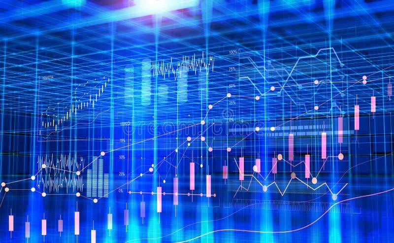 Affär i cyberspace paper täta datafingrar för analys blyertspennasiktskvinnan Grafer och diagram av dynamiken av utveckling stock illustrationer