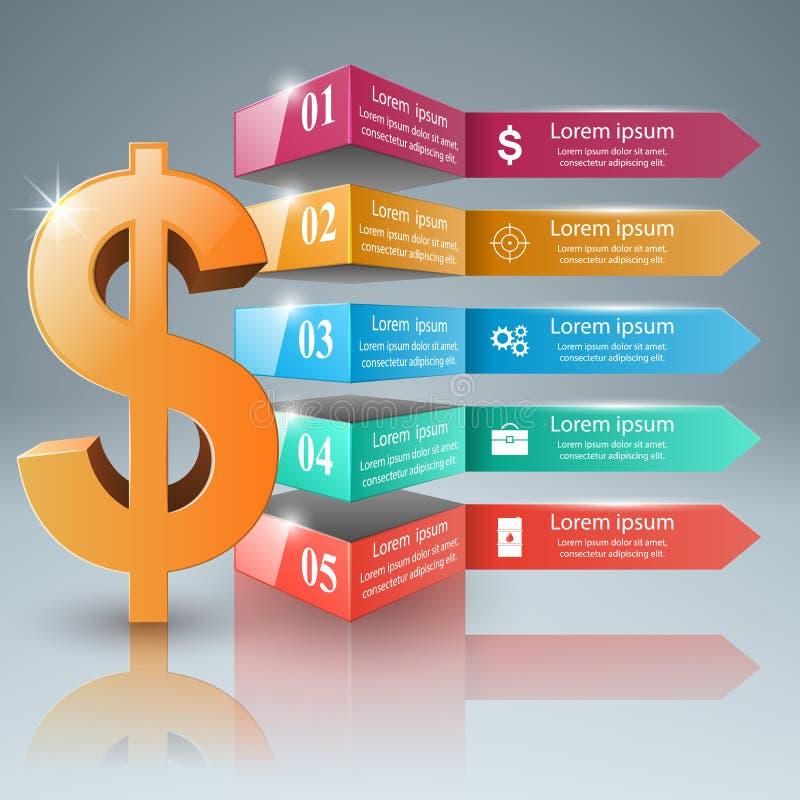 Affär Infographics Dollar pengarsymbol royaltyfri illustrationer