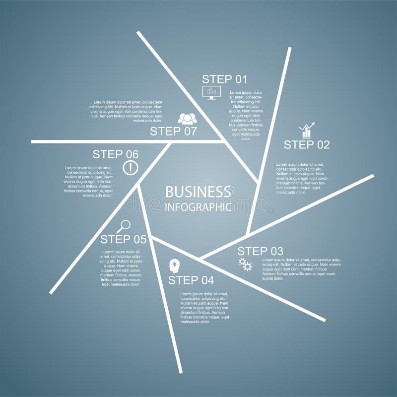 Affär InfoGraphics, geometri, sjuhörningdesign, marknadsföringspresentation, avsnittbaner royaltyfri illustrationer
