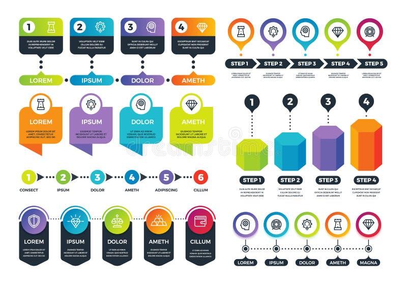 Affär Infographics Informationsgrafer, timeline och abstrakta runda diagram med marknadsföringssymboler vektor för set för teckna stock illustrationer