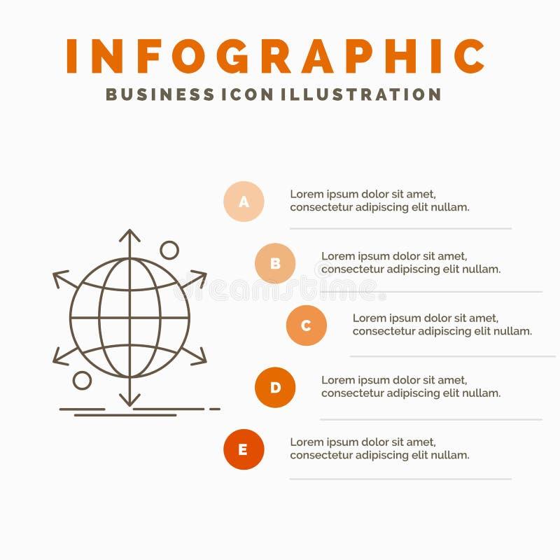 affär, internationellt, netto, nätverk, rengöringsdukInfographics mall för Website och presentation Linje gr? symbol med apelsine stock illustrationer