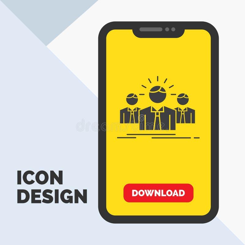 Affär karriär, anställd, entreprenör, ledare Glyph Icon i mobilen för nedladdningsida Gul bakgrund vektor illustrationer