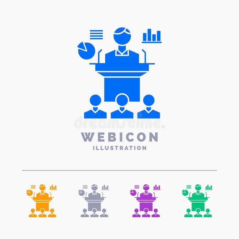 Affär konferens, regel, presentation, för färgskåra för seminarium som 5 mall för symbol för rengöringsduk isoleras på vit ocks?  vektor illustrationer