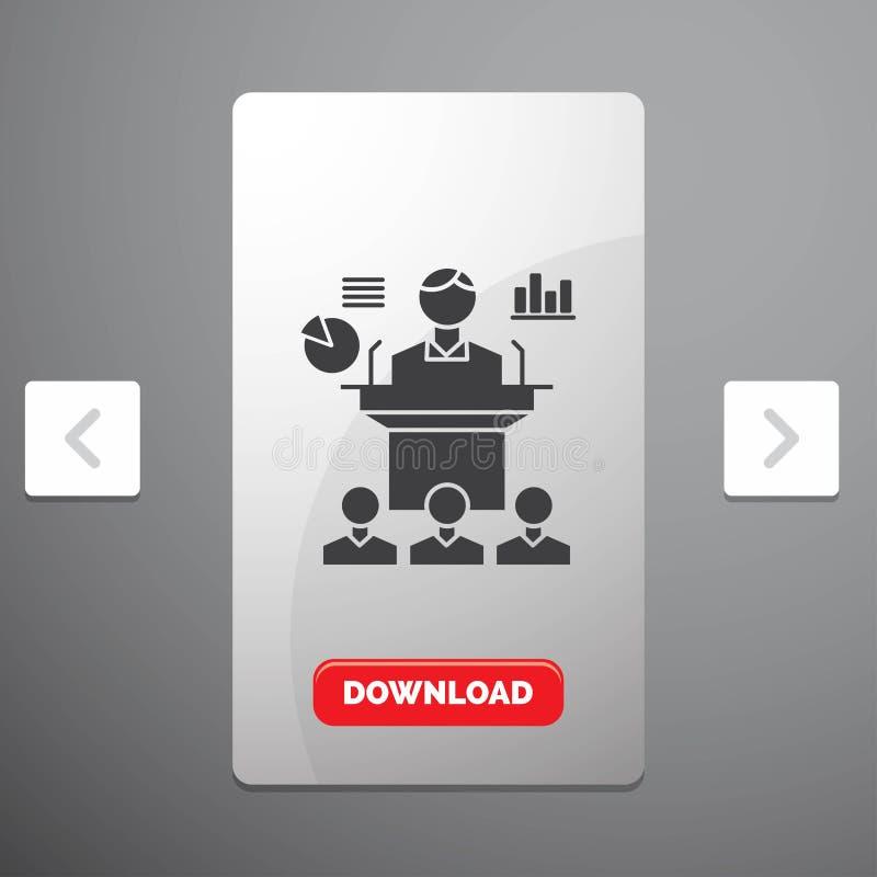 Affär, konferens, regel, presentation, seminariumskårasymbol i design för Carousalpagineringsglidare & röd nedladdningknapp stock illustrationer