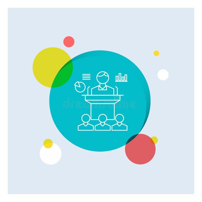 Affär konferens, regel, presentation, vit linje färgrik cirkelbakgrund för seminarium för symbol royaltyfri illustrationer