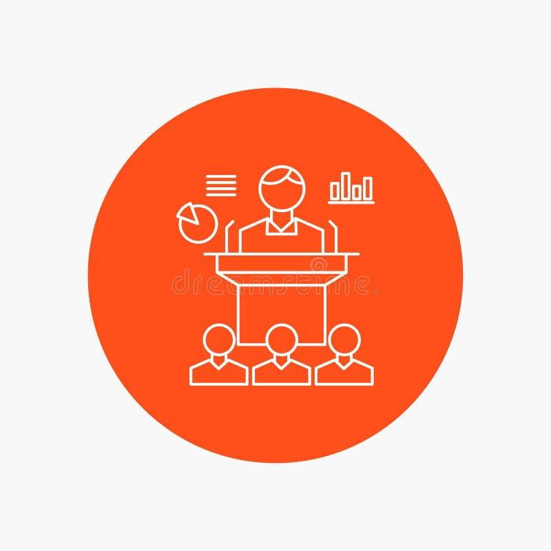 Affär konferens, regel, presentation, vit linje symbol för seminarium i cirkelbakgrund Vektorsymbolsillustration vektor illustrationer