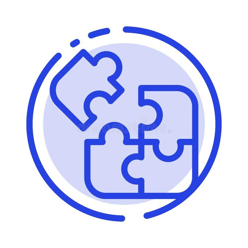 Affär lek, logik, pussel, blå prickig linje linje symbol för fyrkant vektor illustrationer