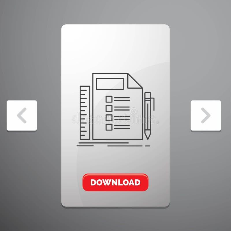 Affär, lista, plan, planläggning, uppgiftslinje symbol i design för Carousalpagineringsglidare & röd nedladdningknapp vektor illustrationer