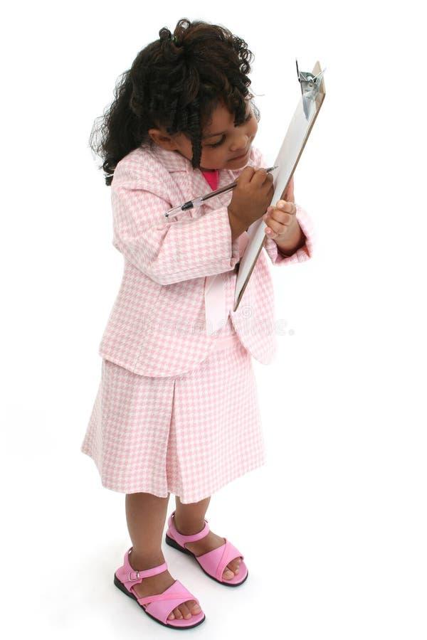 affär little rosa dräktkvinna arkivfoton