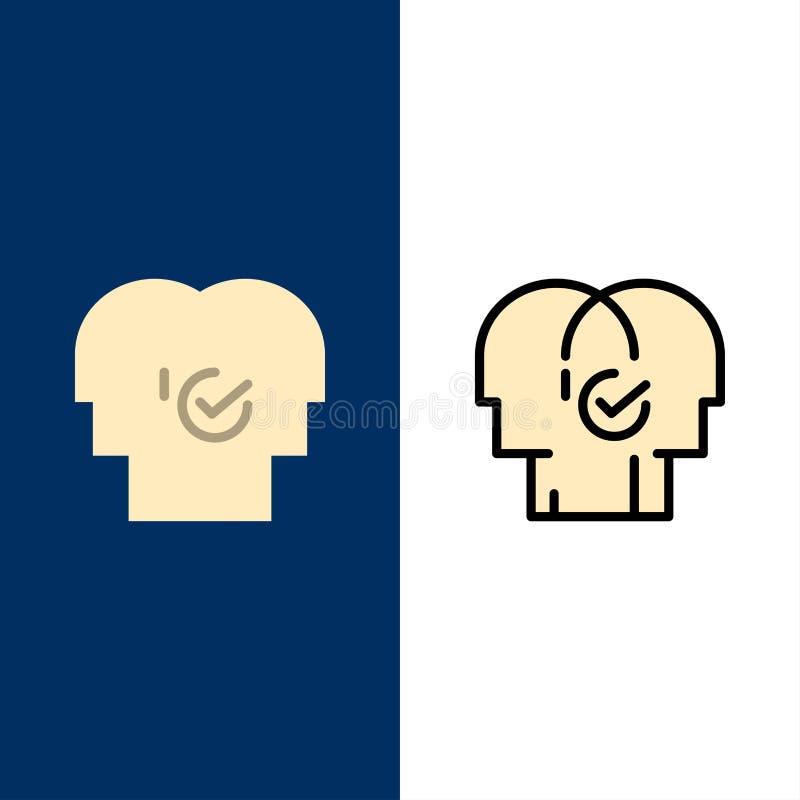 Affär mänskligt som är modern, resurser, valsymboler Lägenheten och linjen fylld symbol ställde in blå bakgrund för vektorn royaltyfri illustrationer