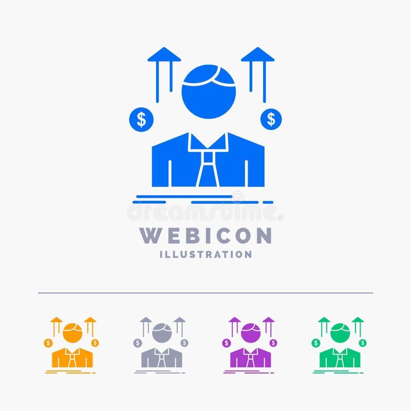 Affär man, avatar, anställd, mall för symbol för rengöringsduk för skåra för färg för försäljningsman som 5 isoleras på vit ocks? stock illustrationer