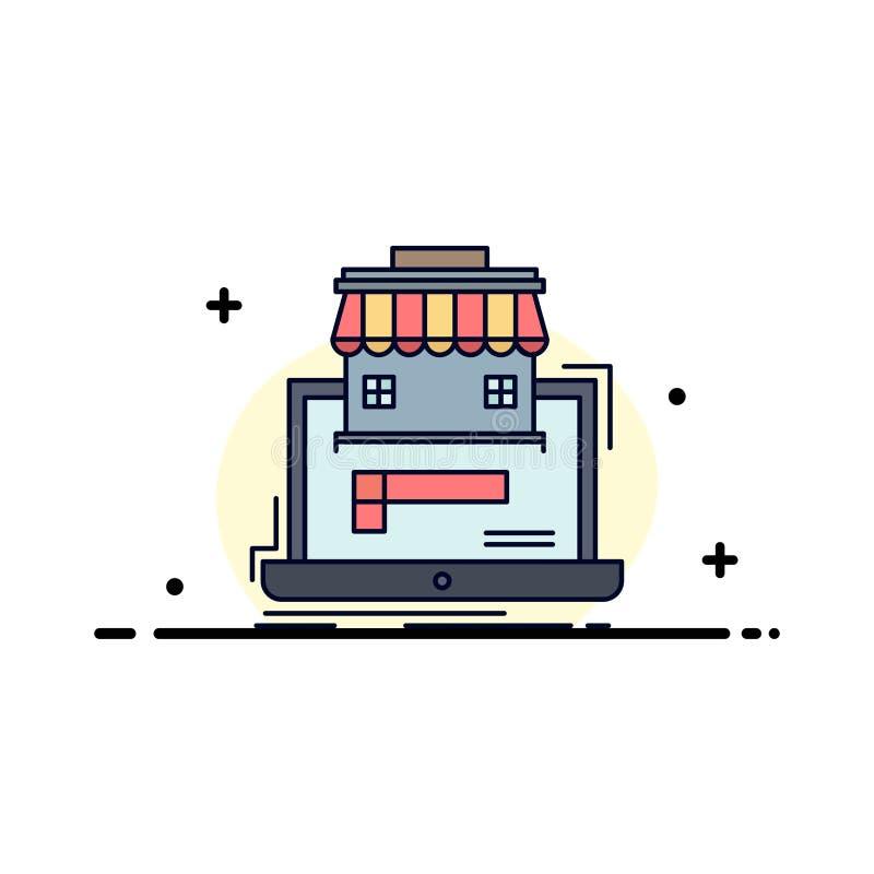 affär marknadsplats, organisation, data, för färgsymbol för online-marknad plan vektor stock illustrationer