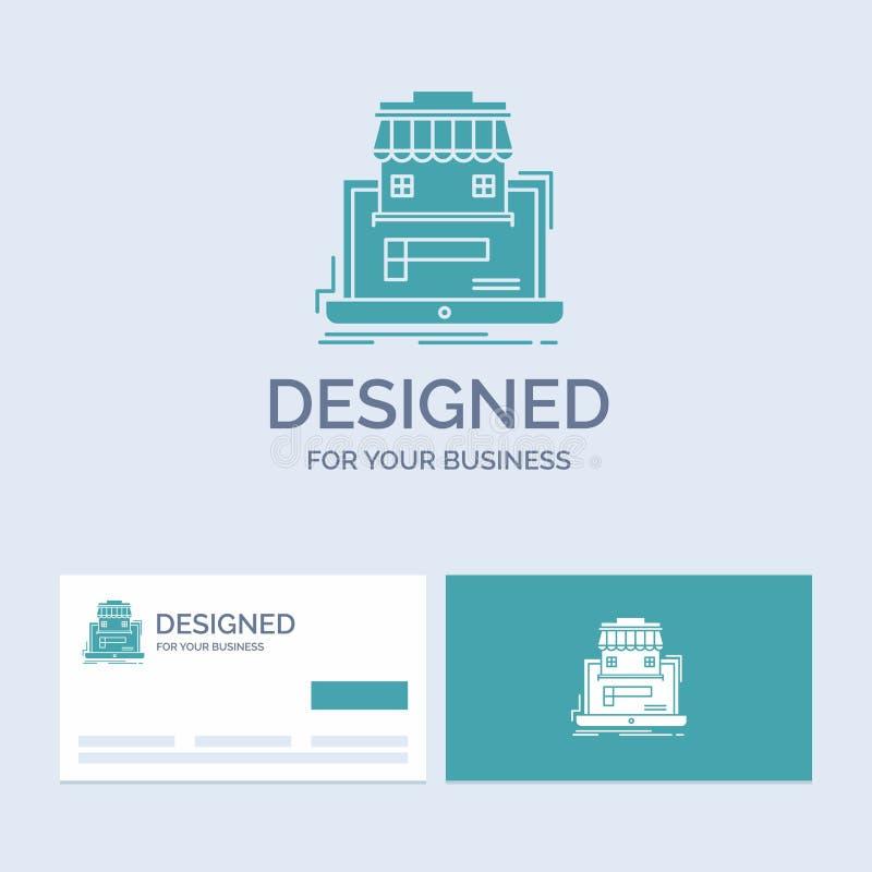 affär marknadsplats, organisation, data, online-marknadsaffär Logo Glyph Icon Symbol för din affär Turkosaff?r royaltyfri illustrationer