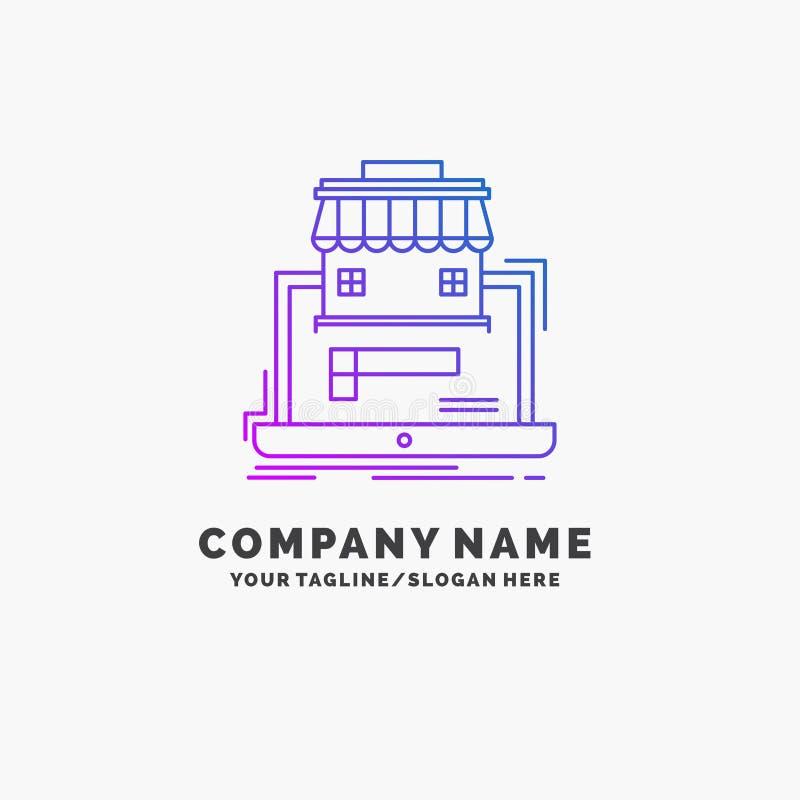 affär marknadsplats, organisation, data, online-marknadslilaaffär Logo Template St?lle f?r Tagline stock illustrationer