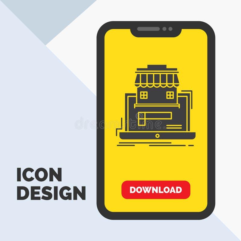 affär marknadsplats, organisation, data, online-marknadsskårasymbol i mobilen för nedladdningsida Gul bakgrund vektor illustrationer