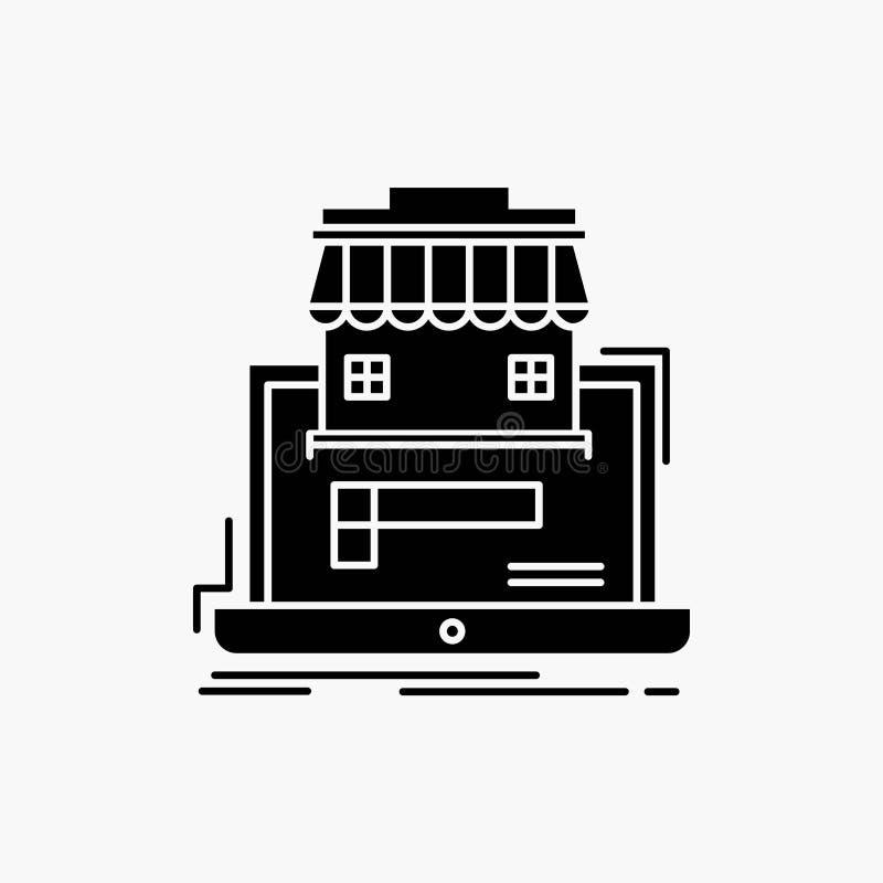 affär marknadsplats, organisation, data, online-marknadsskårasymbol Vektor isolerad illustration stock illustrationer