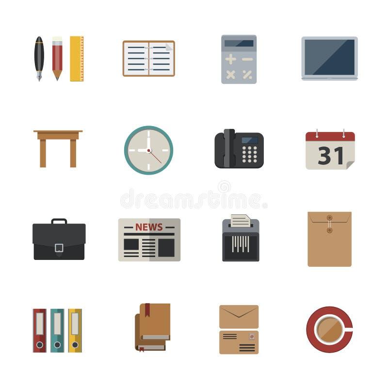 Affär och kontor Plana symboler ställde in för website- och mobilapplikationer vektor illustrationer