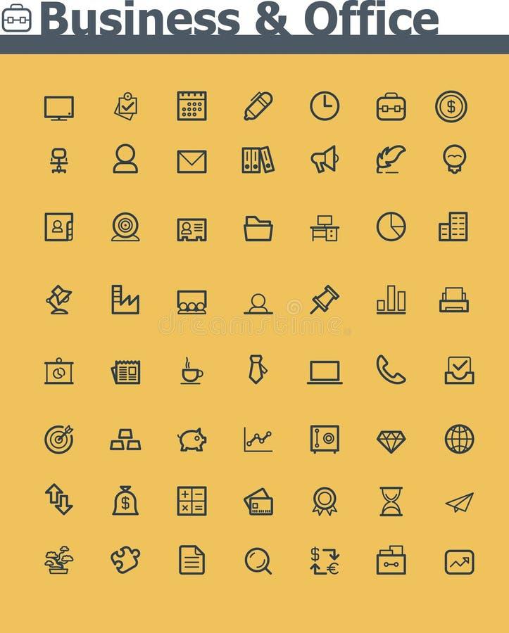 Affär och kontorssymbolsuppsättning vektor illustrationer