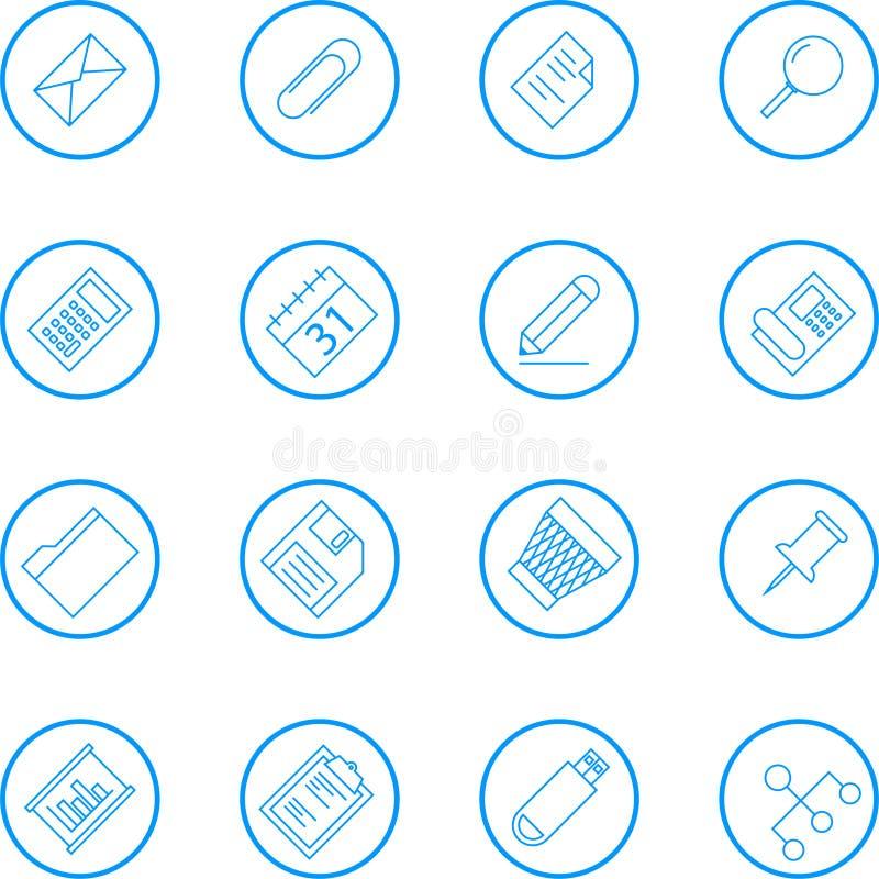 Affär och kontorsvektorlinje symbolssamling stock illustrationer