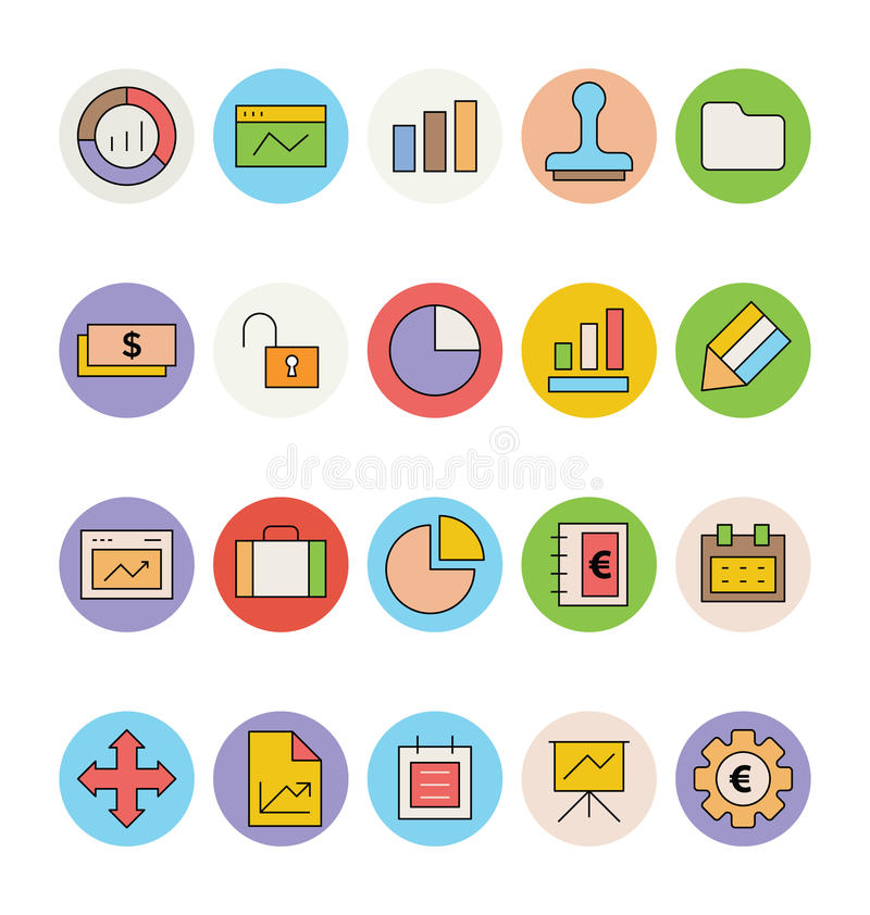 Affär och kulöra vektorsymboler 1 för kontor royaltyfri illustrationer