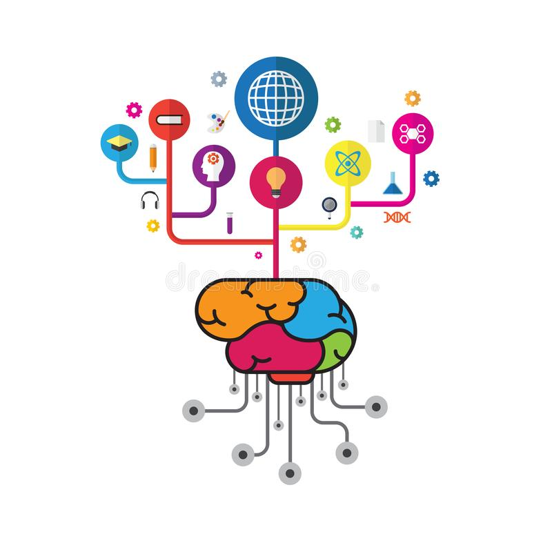 Affär och utbildning för idérik hjärna för vektor faktisk tänkande stock illustrationer
