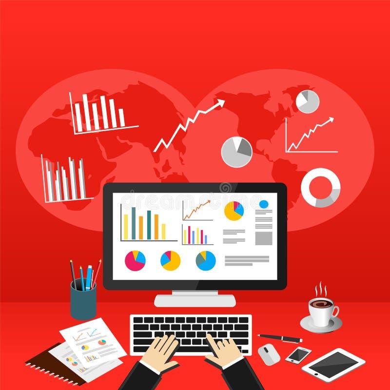 Affär Person Analyzes Data Economy Statistics Begrepp för affärsstatistik royaltyfri illustrationer