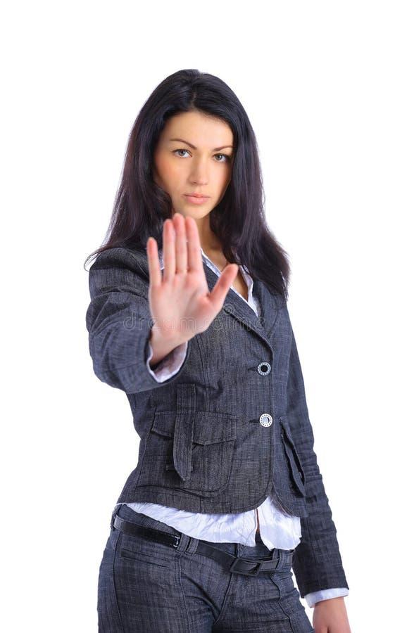 affär som gör över kvinna för teckenstoppwhite arkivbild