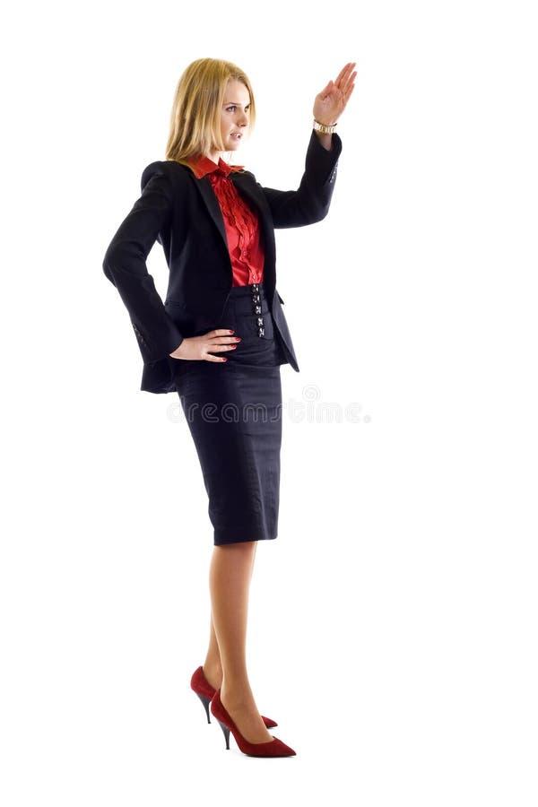 affär som ger den lyckliga anförandekvinnan royaltyfri fotografi