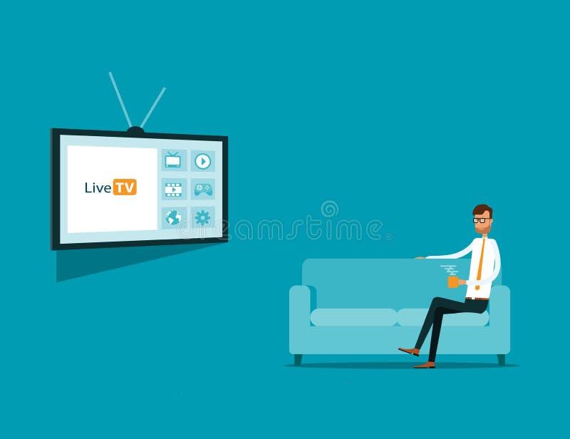 Affär som håller ögonen på online-TV på soffan Bärbar dator med den gammalmodiga tvskärmen digital tv stock illustrationer