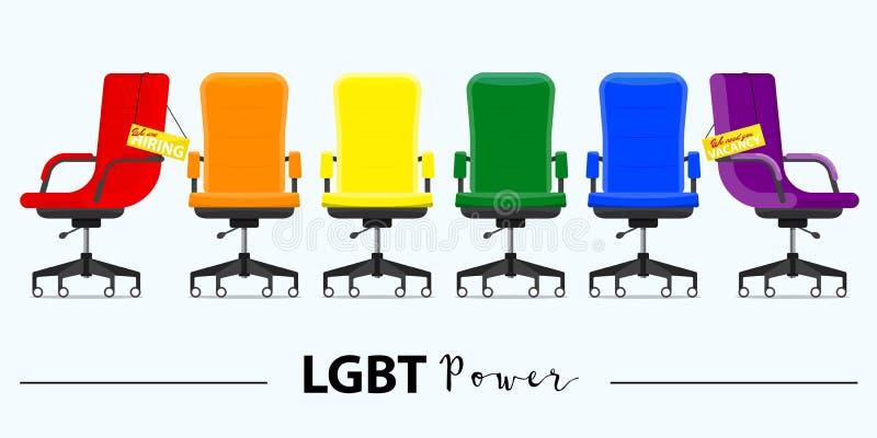 Affär som hyr och rekryterar i LGBT-maktbegrepp Kontorsstol eller skrivbordstol i olika punkter av sikten royaltyfri illustrationer