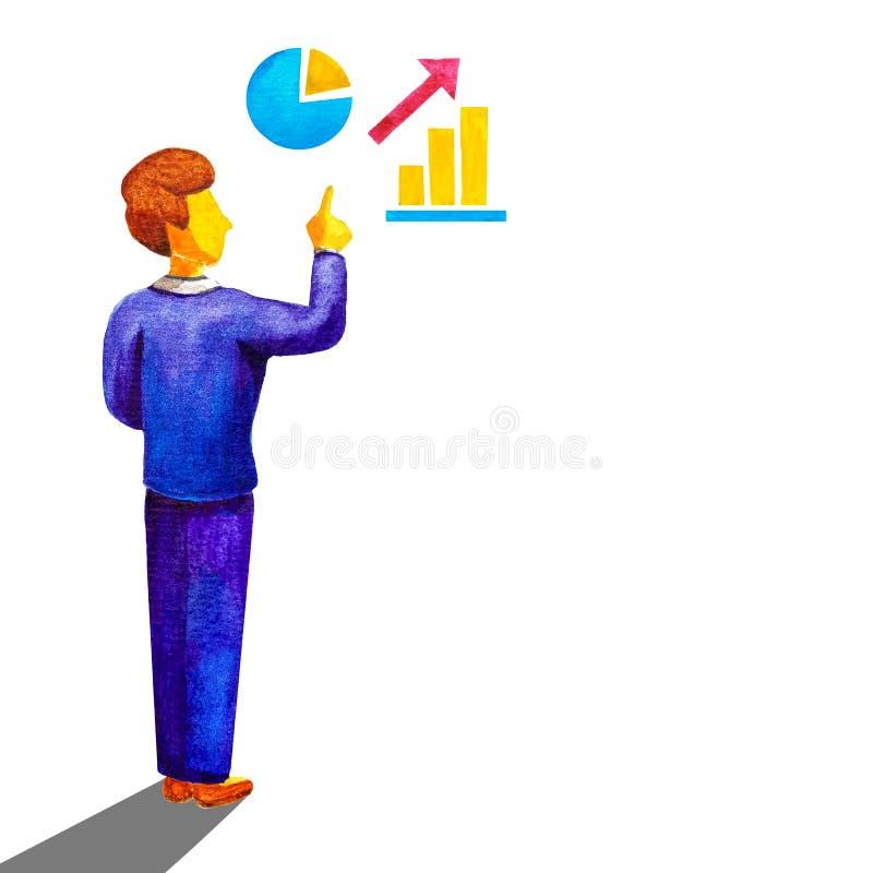 Affär som lär begrepp Mannen för affären för lärarekontorsarbetaren i en blå dräkt framlägger och visar gester med hans finger up vektor illustrationer