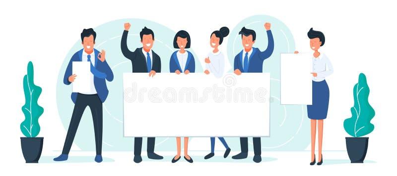 Affär som ler folk med vita ark Lyckliga kontorstecken med baner Framgång och arbetande begrepp för lag stock illustrationer