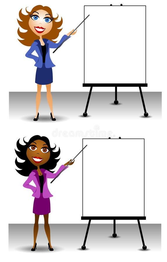 affär som presenterar kvinnan stock illustrationer