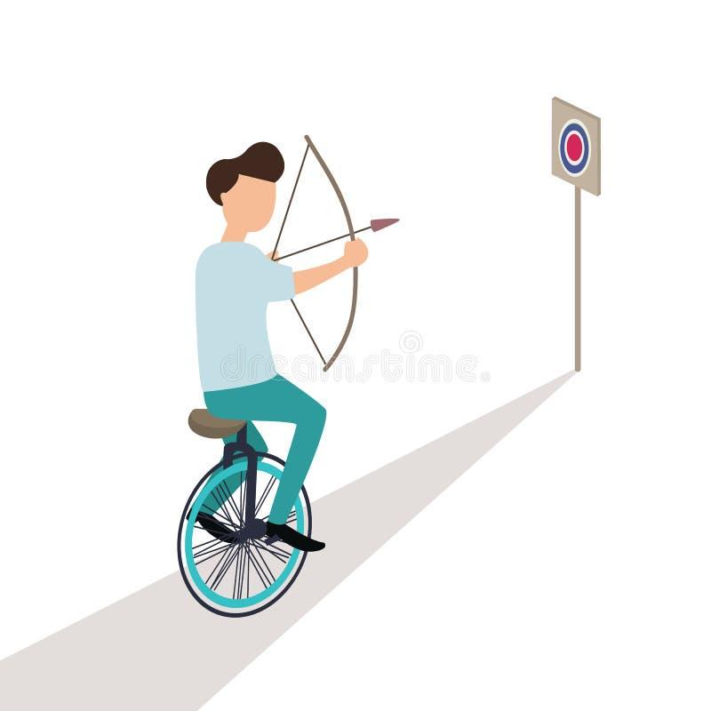 Affär som siktar målet, medan rida cirkuleringen stock illustrationer