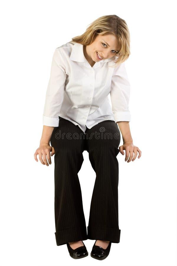 affär som sitter ner kvinnan arkivbild