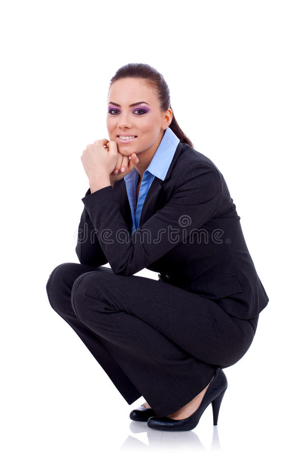affär som sitter tillfälligt kvinnan royaltyfria foton