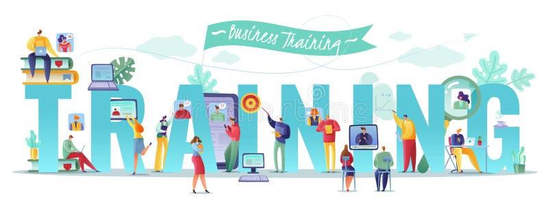 Affär som utbildar horisontalillustrationen affärsfolk som hyr granska meritförteckningar som utbildar nybörjareanställdsökande stock illustrationer