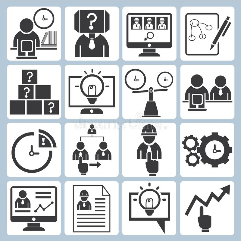 Affär symboler för organisationsutveckling stock illustrationer
