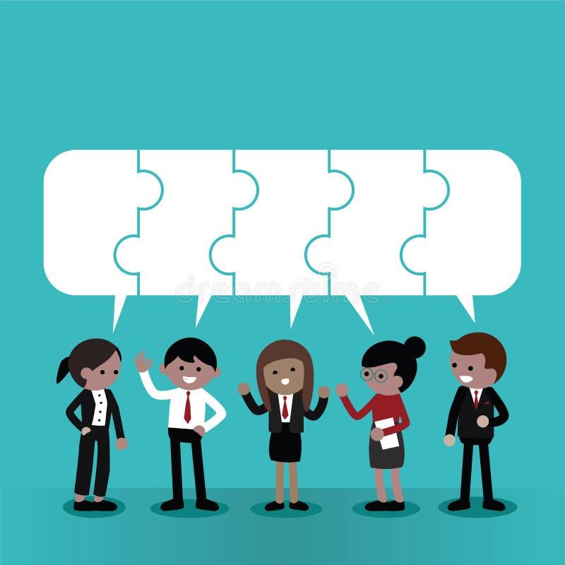 Affär Team Discussion Matching Jigsaw Puzzle royaltyfri illustrationer
