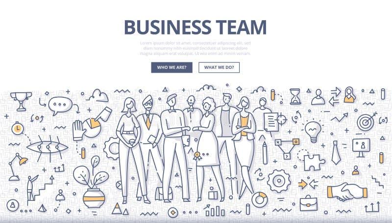 Affär Team Doodle Concept stock illustrationer