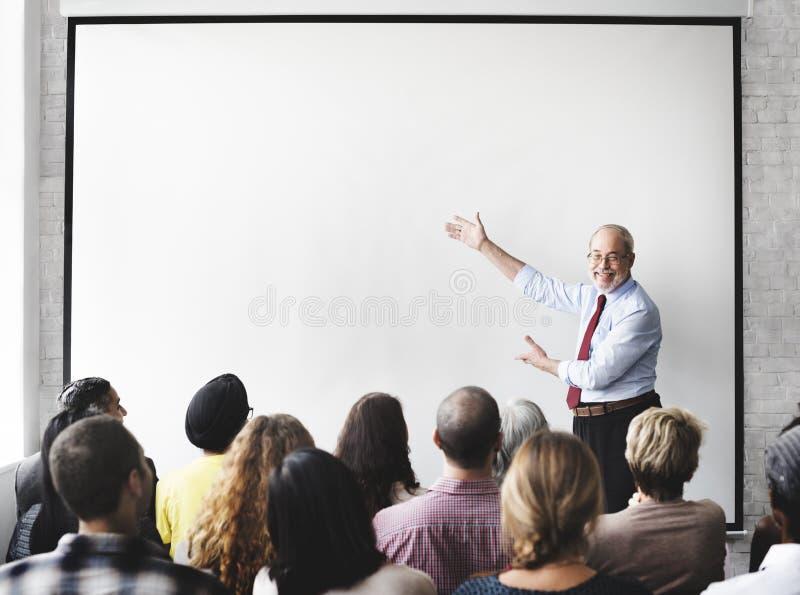 Affär Team Seminar Listening Meeting Concept arkivbilder
