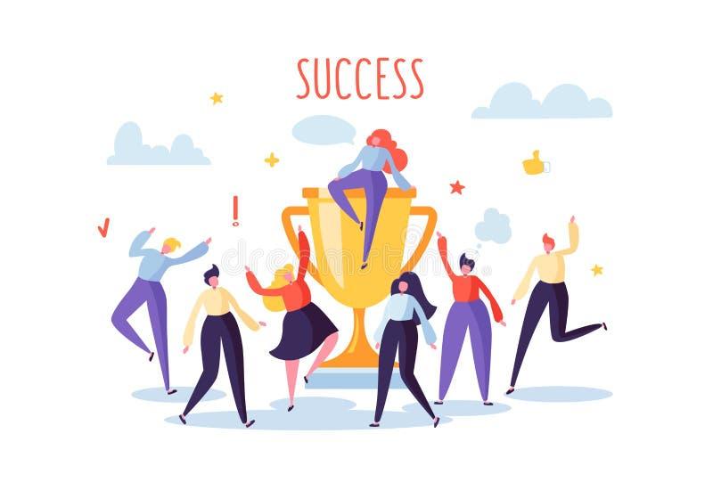 Affär Team Success, prestationbegrepp Plana folktecken med priset, guld- kopp Stor trofé för kontorsarbetare royaltyfri illustrationer