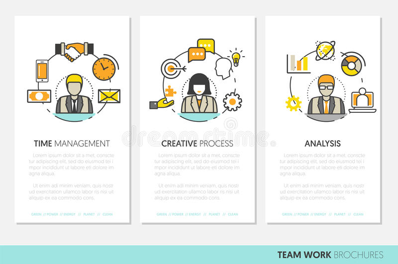 Affär Team Work Brochure Template med linjen Art Thin Icons vektor illustrationer